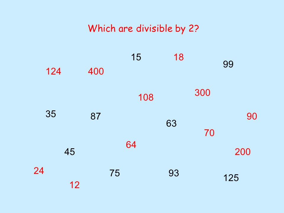 24 70 12 400 200 300 18 124 75 15 87 108 45 35 64 63 93 90 125 99 Which are divisible by 4?
