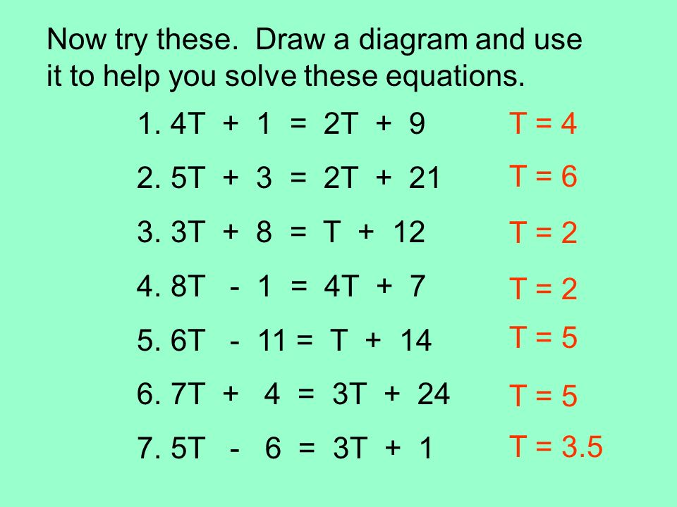 Now try these. Draw a diagram and use it to help you solve these equations.