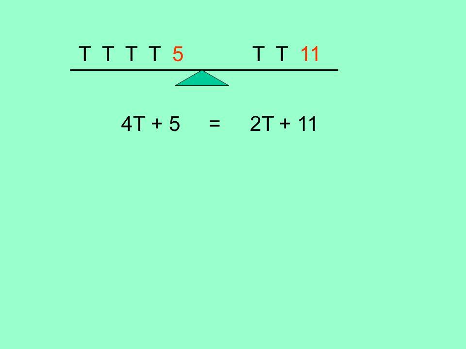 T T T T 5 T T 11 4T + 5 = 2T + 11