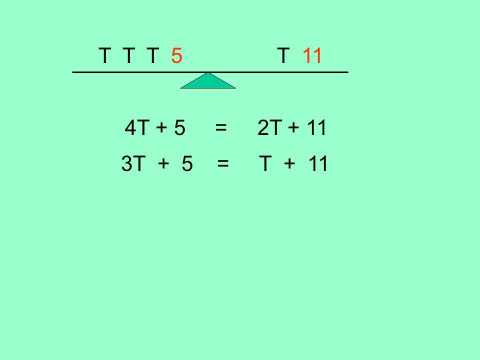 T T T 5 T 11 4T + 5 = 2T + 11 3T + 5 = T + 11