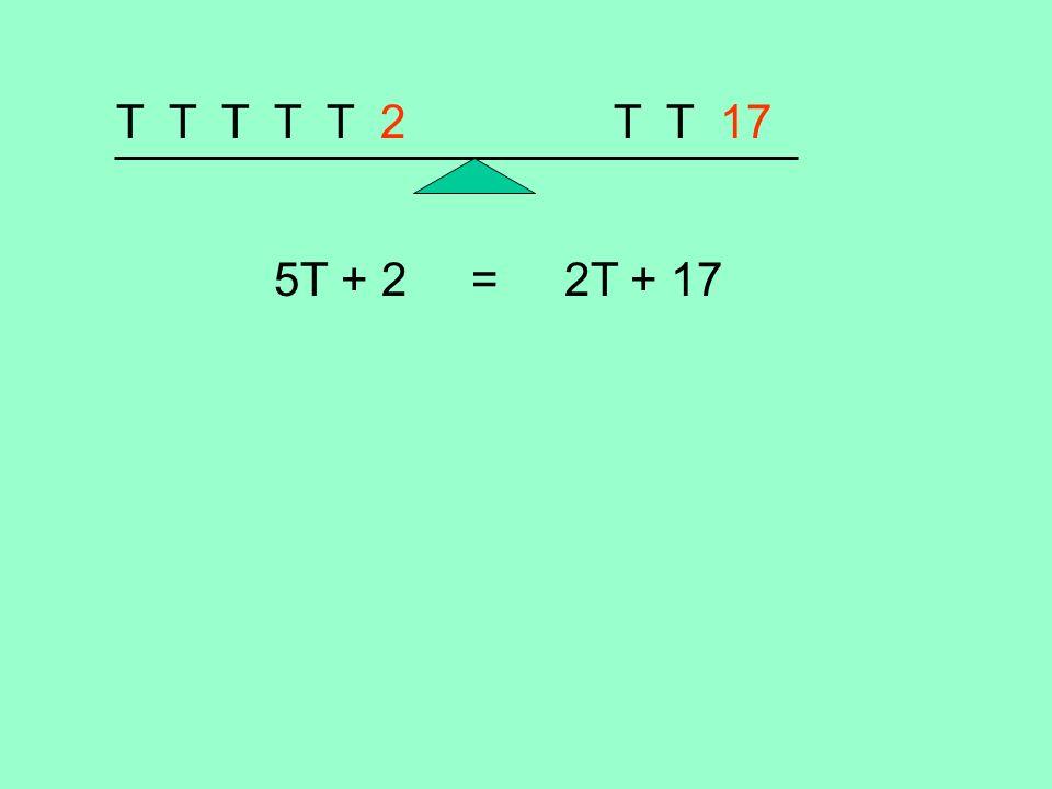 T T T T T 2 T T 17 5T + 2 = 2T + 17