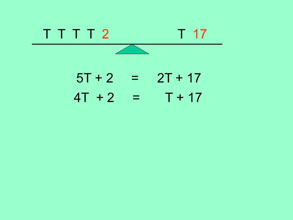 T T T T 2 T 17 5T + 2 = 2T + 17 4T + 2 = T + 17