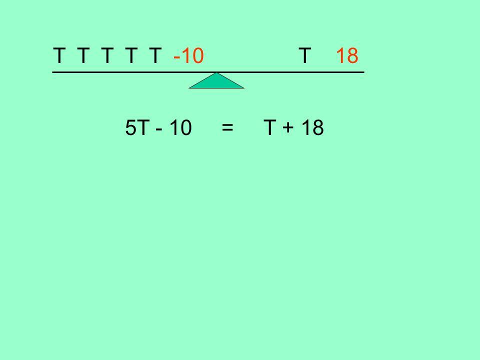 T T T T T -10 T 18 5T - 10 = T + 18