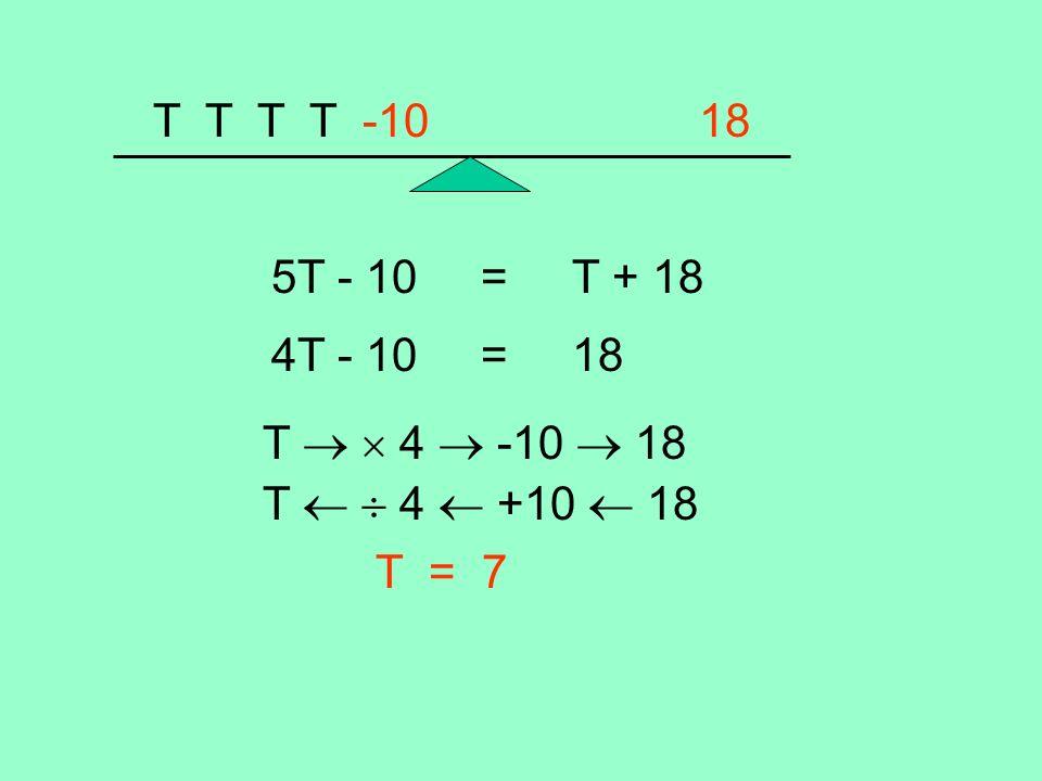 T T T T -10 18 5T - 10 = T + 18 4T - 10 = 18 T 4 -10 18 T 4 +10 18 T = 7