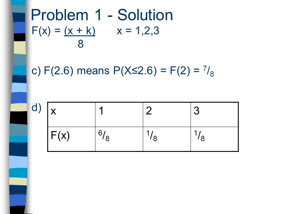 Problem 1 - Solution F(x) = (x + k) x = 1,2,3 8 c) F(2.6) means P(X2.6) = F(2) = 7 / 8 d) x123 F(x) 6/86/8 1/81/8 1/81/8
