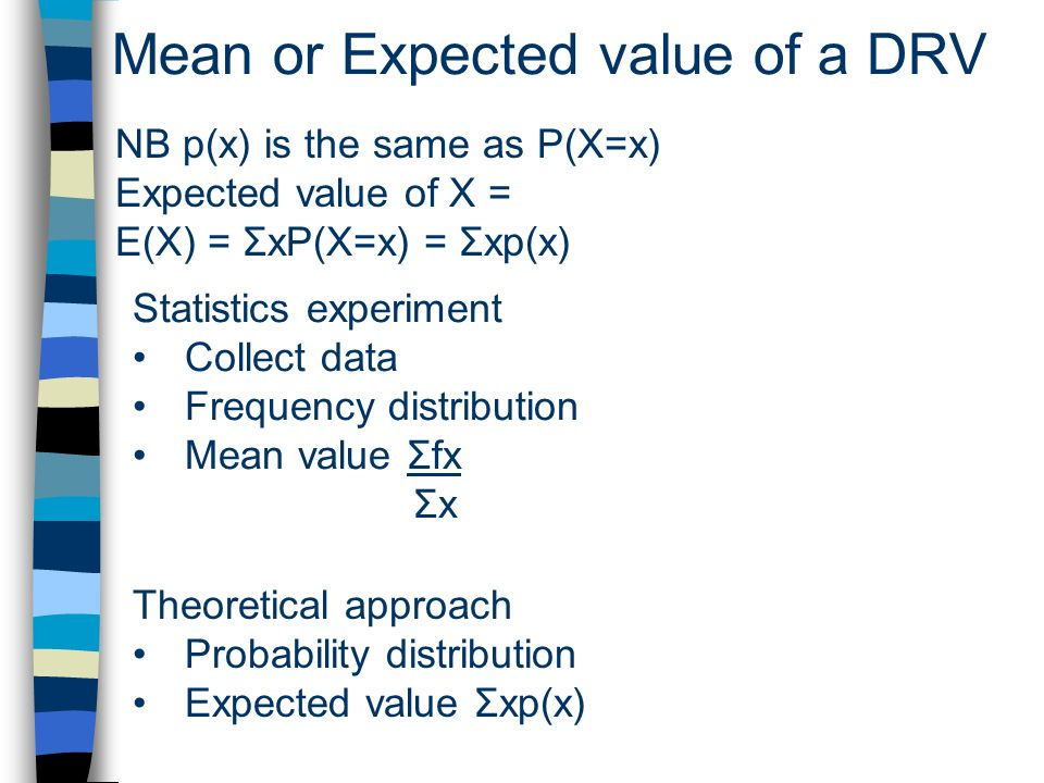 Mean or Expected value of a DRV NB p(x) is the same as P(X=x) Expected value of X = E(X) = ΣxP(X=x) = Σxp(x) Statistics experiment Collect data Frequency distribution Mean value Σfx Σx Theoretical approach Probability distribution Expected value Σxp(x)