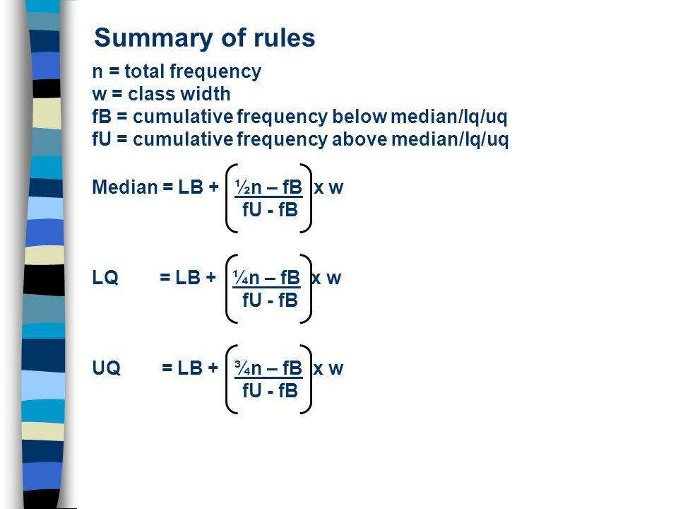 Summary of rules n = total frequency w = class width fB = cumulative frequency below median/lq/uq fU = cumulative frequency above median/lq/uq Median