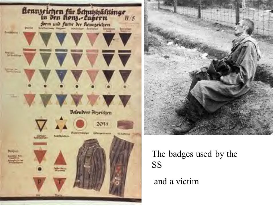 The badges used by the SS and a victim