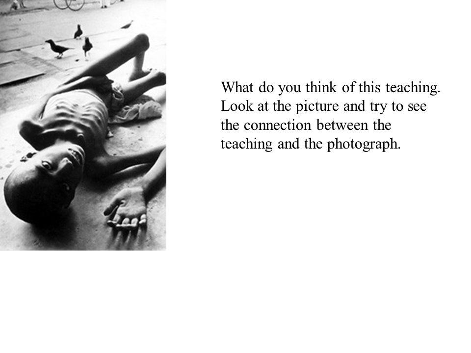 What do you think of this teaching. Look at the picture and try to see the connection between the teaching and the photograph.