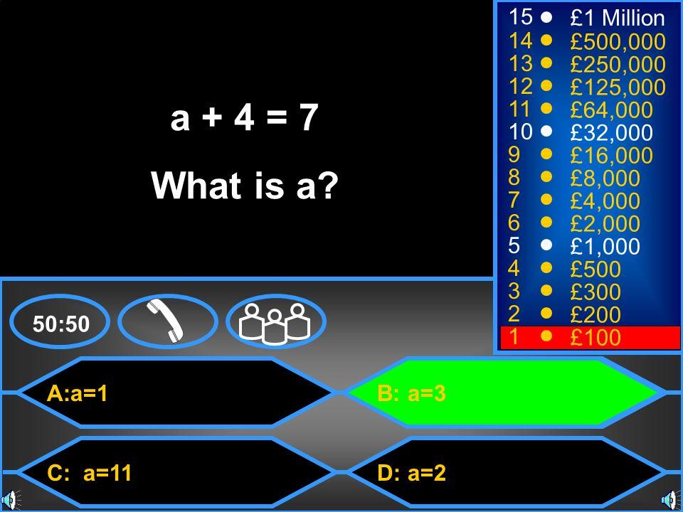 A:a=1 C: a=11 B: a=3 D: a=2 50:50 15 14 13 12 11 10 9 8 7 6 5 4 3 2 1 £1 Million £500,000 £250,000 £125,000 £64,000 £32,000 £16,000 £8,000 £4,000 £2,000 £1,000 £500 £300 £200 £100 a + 4 = 7 What is a?