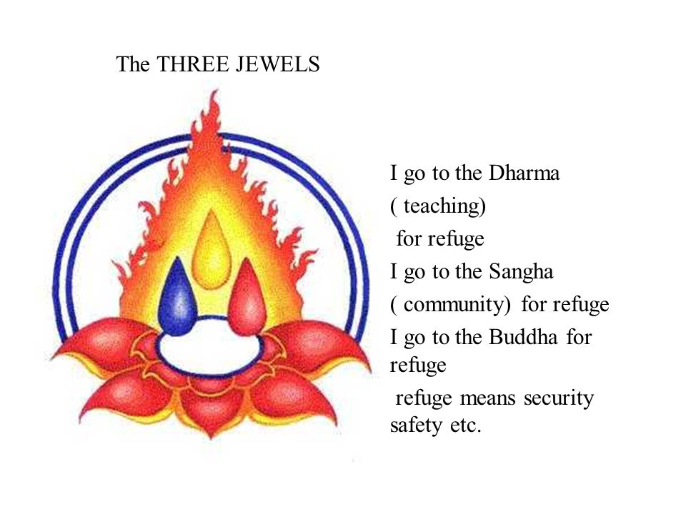 The THREE JEWELS I go to the Dharma ( teaching) for refuge I go to the Sangha ( community) for refuge I go to the Buddha for refuge refuge means secur