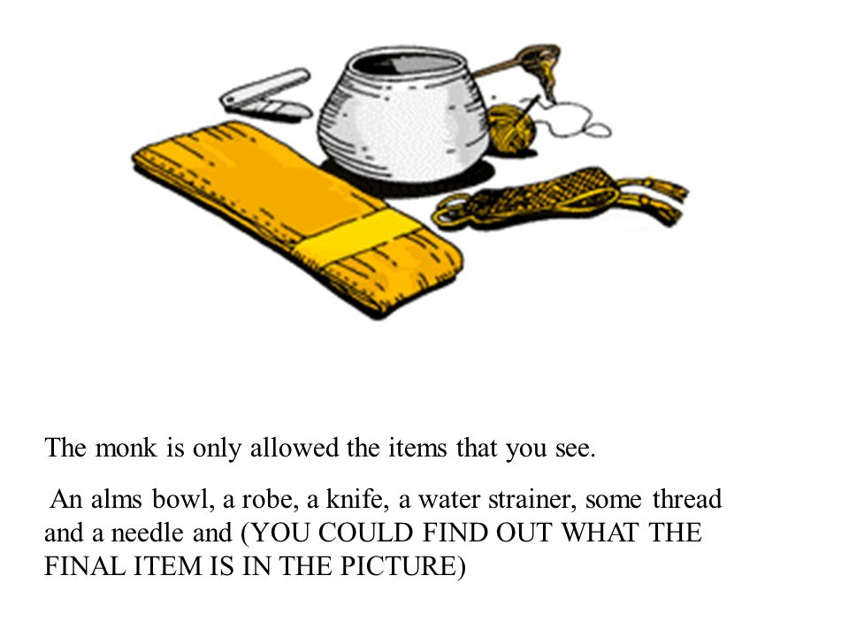 The monk is only allowed the items that you see. An alms bowl, a robe, a knife, a water strainer, some thread and a needle and (YOU COULD FIND OUT WHA