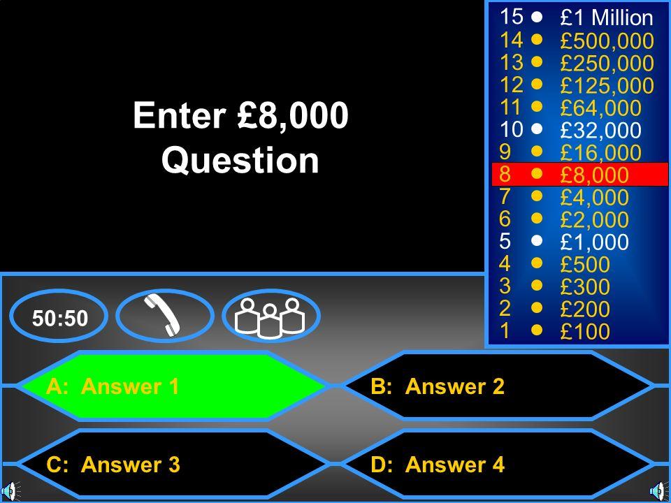 A: Answer 1 C: Answer 3 B: Answer 2 D: Answer 4 50:50 15 14 13 12 11 10 9 8 7 6 5 4 3 2 1 £1 Million £500,000 £250,000 £125,000 £64,000 £32,000 £16,00