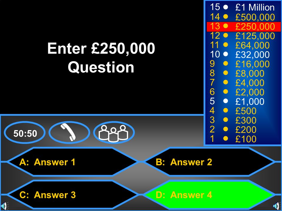 A: Answer 1 C: Answer 3 B: Answer 2 D: Answer 4 50:50 15 14 13 12 11 10 9 8 7 6 5 4 3 2 1 £1 Million £500,000 £250,000 £125,000 £64,000 £32,000 £16,000 £8,000 £4,000 £2,000 £1,000 £500 £300 £200 £100 Enter £250,000 Question