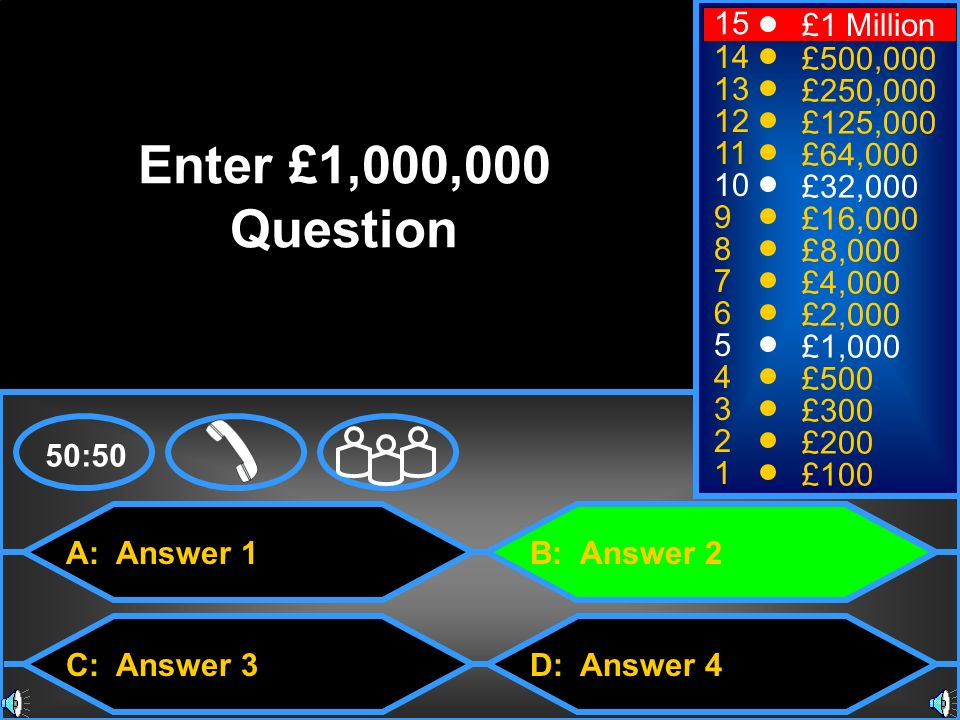 A: Answer 1 C: Answer 3 B: Answer 2 D: Answer 4 50:50 15 14 13 12 11 10 9 8 7 6 5 4 3 2 1 £1 Million £500,000 £250,000 £125,000 £64,000 £32,000 £16,000 £8,000 £4,000 £2,000 £1,000 £500 £300 £200 £100 Enter £1,000,000 Question