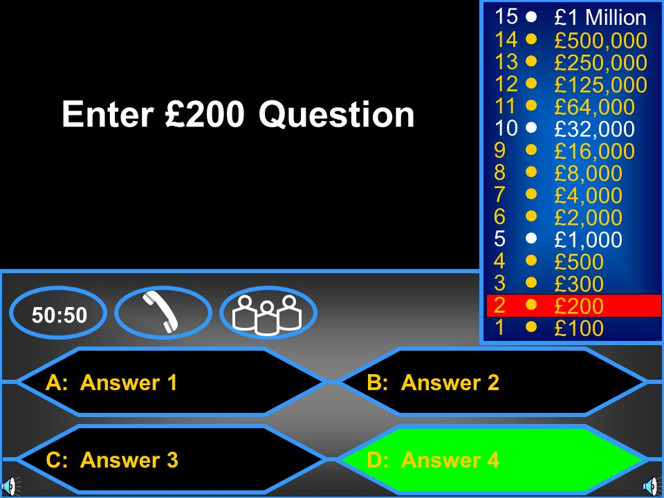 A: Answer 1 C: Answer 3 B: Answer 2 D: Answer 4 50:50 15 14 13 12 11 10 9 8 7 6 5 4 3 2 1 £1 Million £500,000 £250,000 £125,000 £64,000 £32,000 £16,000 £8,000 £4,000 £2,000 £1,000 £500 £300 £200 £100 Enter £200 Question