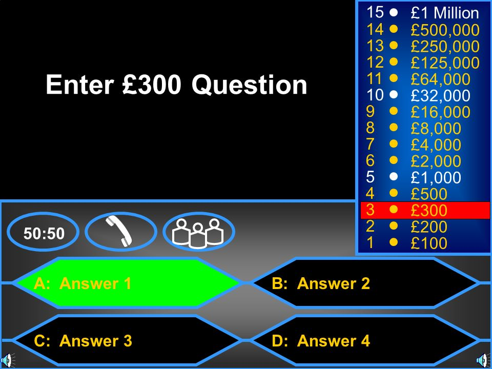 A: Answer 1 C: Answer 3 B: Answer 2 D: Answer 4 50:50 15 14 13 12 11 10 9 8 7 6 5 4 3 2 1 £1 Million £500,000 £250,000 £125,000 £64,000 £32,000 £16,000 £8,000 £4,000 £2,000 £1,000 £500 £300 £200 £100 Enter £300 Question