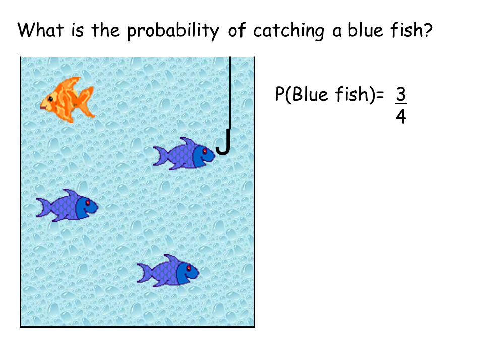What is the probability of catching a blue fish J P(Blue fish)=3434