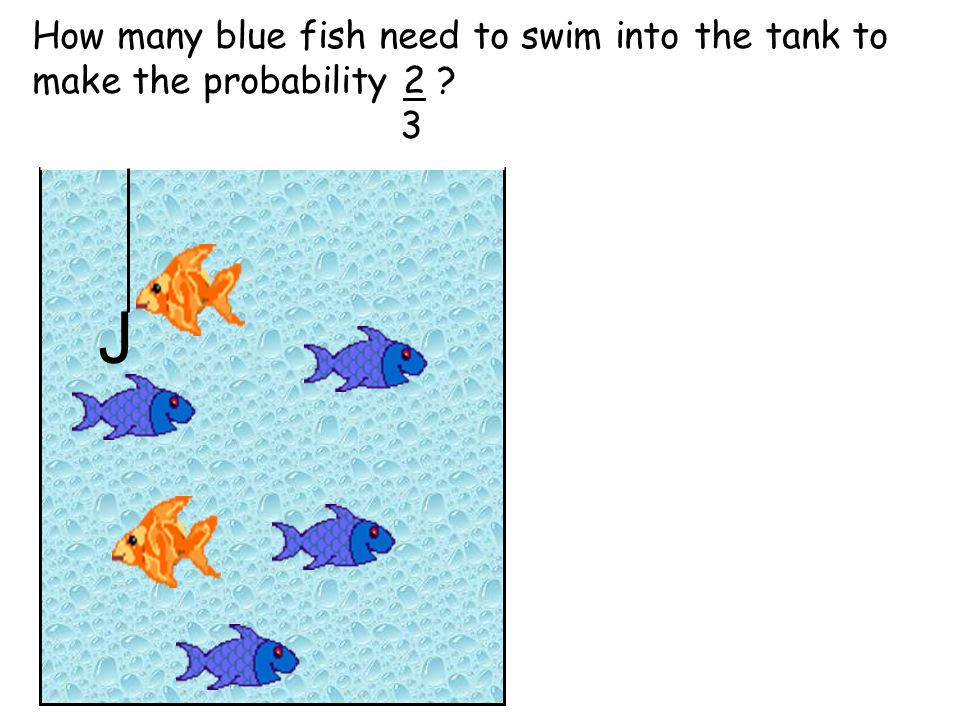 How many blue fish need to swim into the tank to make the probability 2 3 J