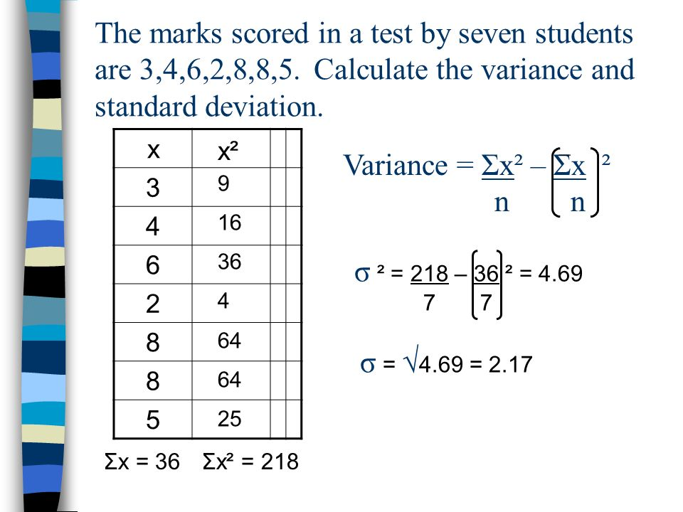 Variance and standard deviation of discrete data Variance = Σx² – Σx ² n n _ Use excel to quickly work out the variance and standard deviation of the questions below 1.3, 9, 12, 24, 10, 21, 27, 16 2.45, 56, 61, 34, 50, 50, 66, 51, 48, 49, 38 3.18, 22, 30, 27, 19, 25, 2, 156 Compare the answers you got in Q1 and 2 to the answer for Q3.