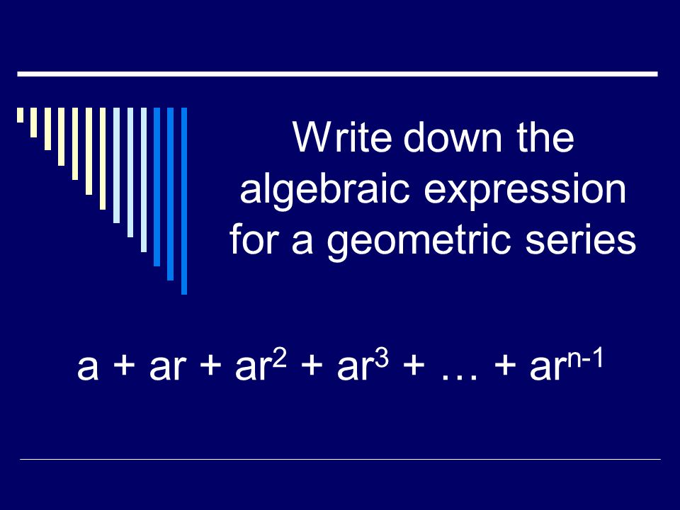The 3 rd term of a geometric series is 75. The first term is 3, find r. r = 5