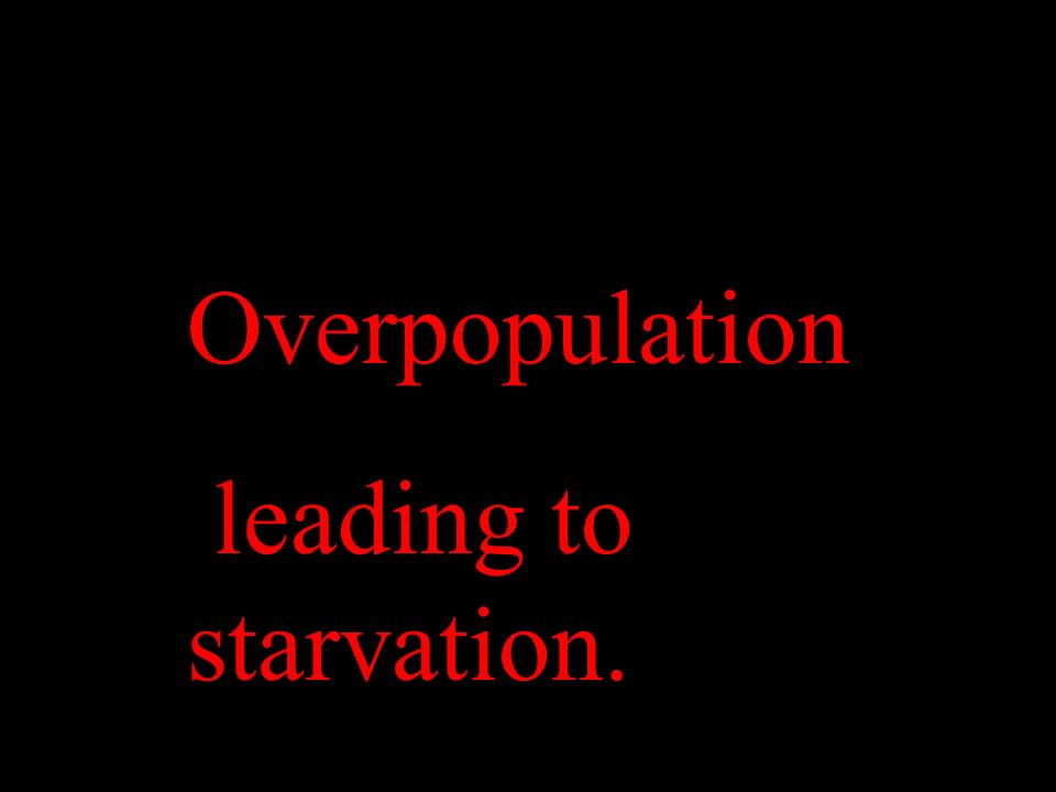 Overpopulation leading to starvation.