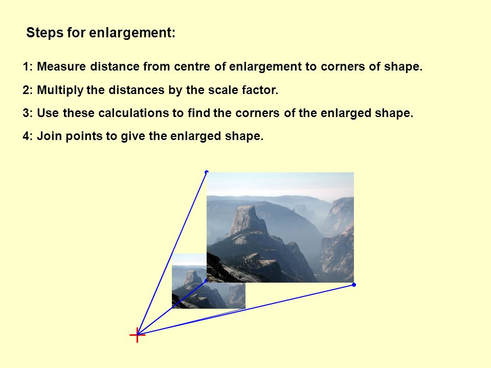 Steps for enlargement: 1: Measure distance from centre of enlargement to corners of shape. 2: Multiply the distances by the scale factor. 3: Use these