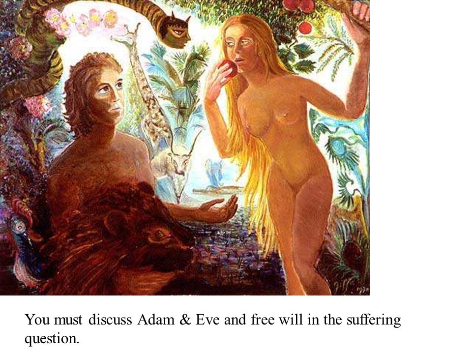 You must discuss Adam & Eve and free will in the suffering question.