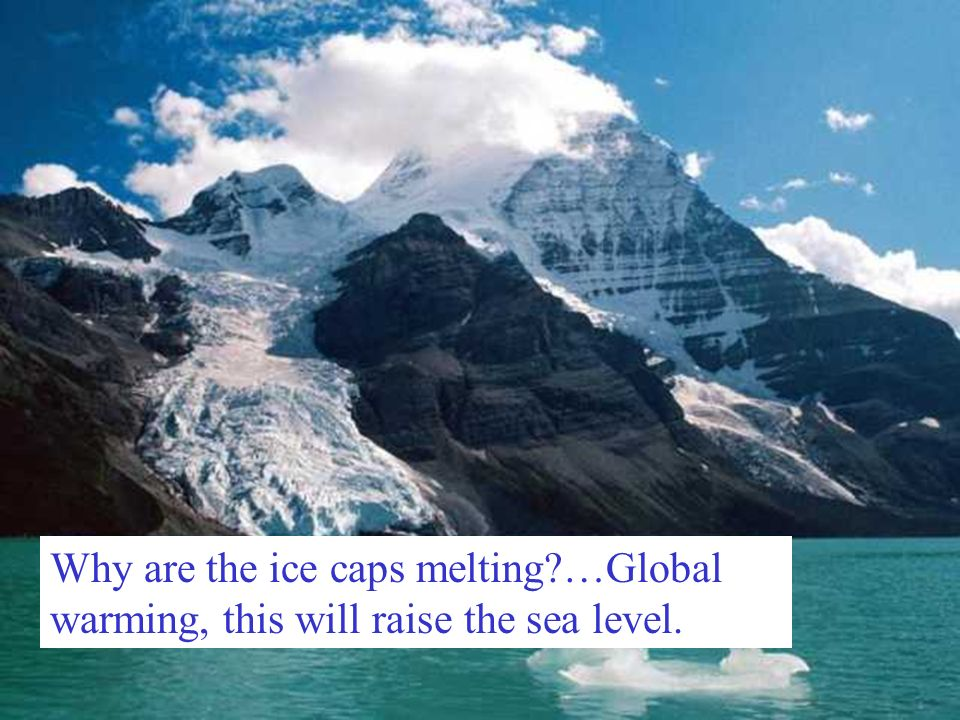 Why are the ice caps melting?…Global warming, this will raise the sea level.