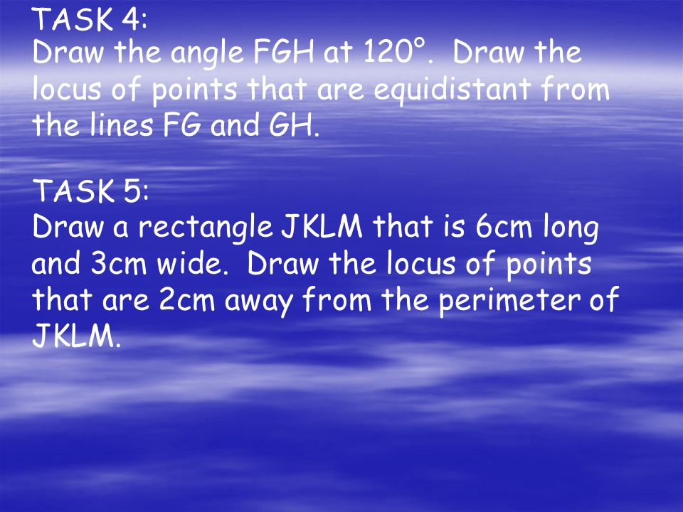 TASK 4: Draw the angle FGH at 120°.