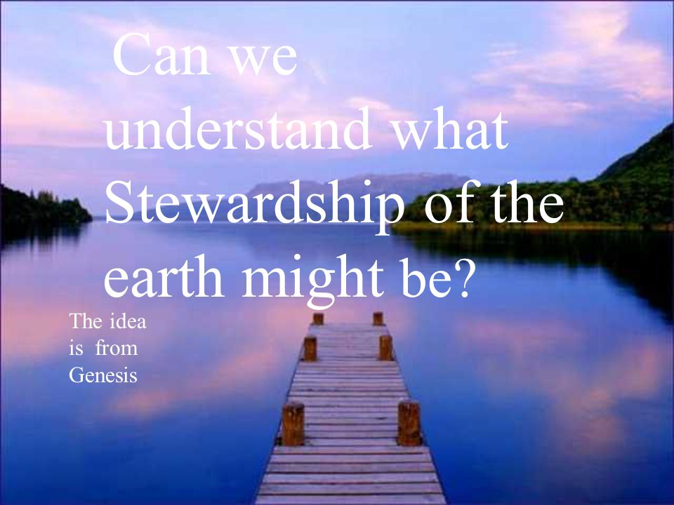 Can we understand what Stewardship of the earth might be? The idea is from Genesis