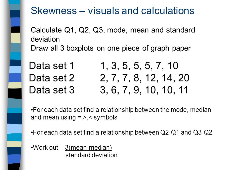 Skewness – visuals and calculations Calculate Q1, Q2, Q3, mode, mean and standard deviation Draw all 3 boxplots on one piece of graph paper Data set 1 1, 3, 5, 5, 5, 7, 10 Data set 2 2, 7, 7, 8, 12, 14, 20 Data set 3 3, 6, 7, 9, 10, 10, 11 For each data set find a relationship between the mode, median and mean using =,>,< symbols For each data set find a relationship between Q2-Q1 and Q3-Q2 Work out 3(mean-median) standard deviation