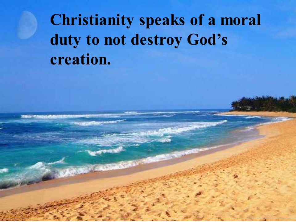 Christianity speaks of a moral duty to not destroy Gods creation.