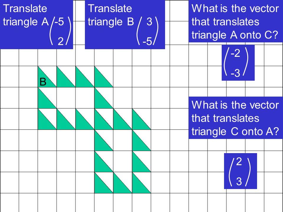 Translate triangle A -5 2 A B Translate triangle B 3 -5 C What is the vector that translates triangle A onto C? -2 -3 What is the vector that translat