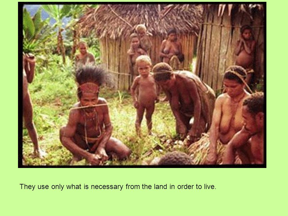 They use only what is necessary from the land in order to live.