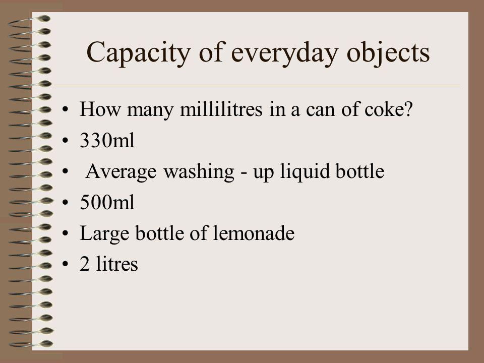 Capacity of everyday objects How many millilitres in a can of coke.