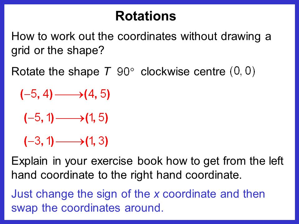Rotations Just change the sign of the x coordinate and then swap the coordinates around. How to work out the coordinates without drawing a grid or the