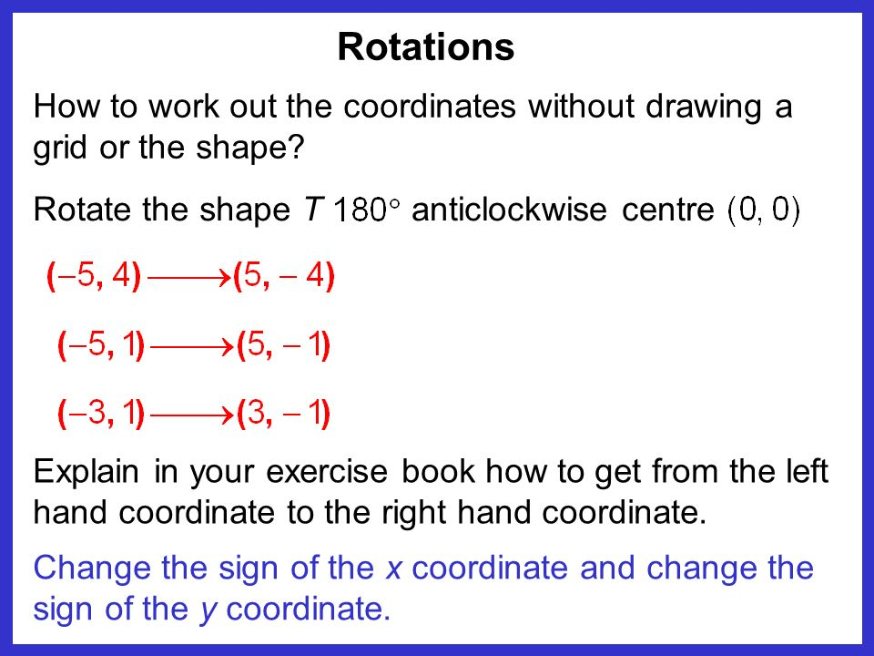 Rotations Change the sign of the x coordinate and change the sign of the y coordinate. How to work out the coordinates without drawing a grid or the s