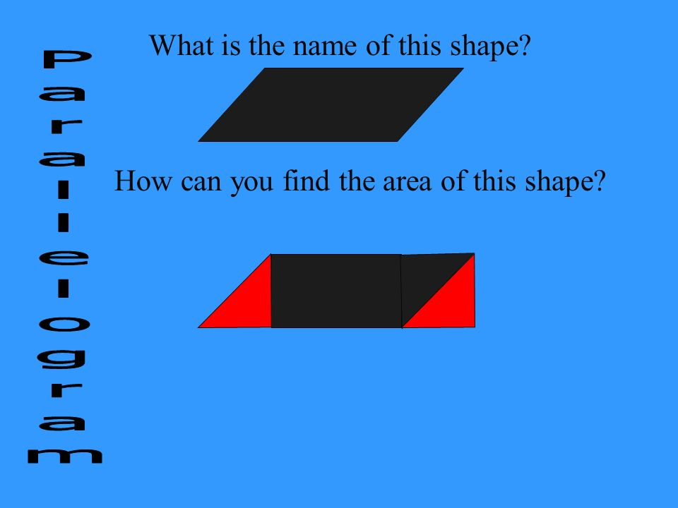 What is the name of this shape? How can you find the area of this shape?