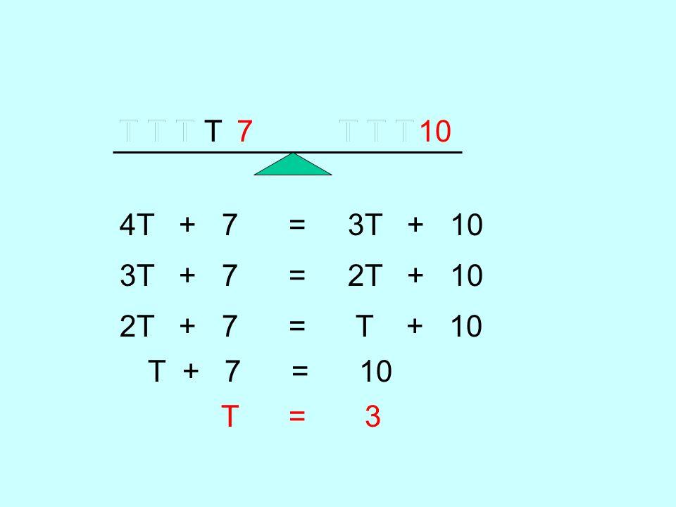 TTTTTTT710 4T + 7 = 3T + 10 TT 3T + 7 = 2T + 10 TT 2T + 7 = T + 10 TT T + 7 = 10 T = 3