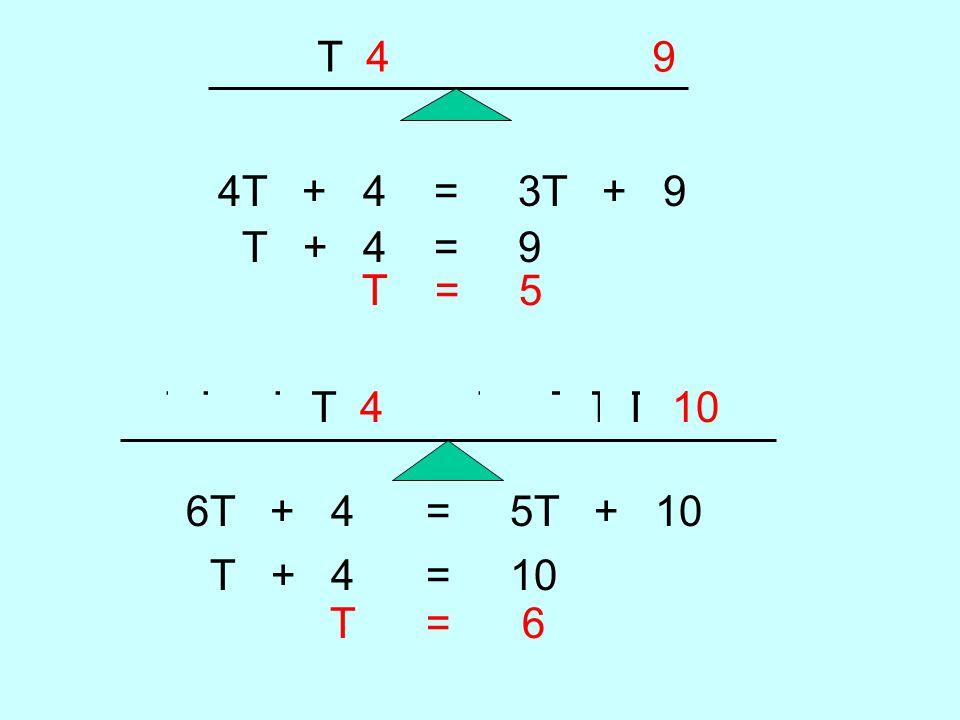 T T T T 4 T T T 9 4T + 4 = 3T + 9 T + 4 = 9 T = 5 T T T T T T 4 T T T T T 10 6T + 4 = 5T + 10 T + 4 = 10 T = 6