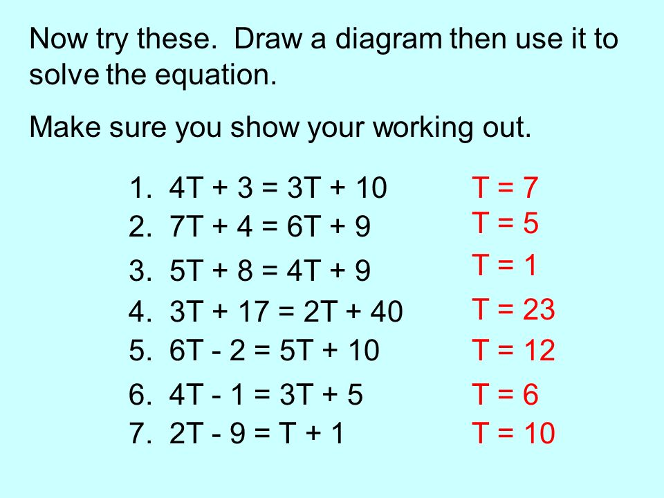 Now try these. Draw a diagram then use it to solve the equation.