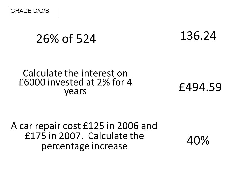 26% of 524 136.24 GRADE D/C/B Calculate the interest on £6000 invested at 2% for 4 years A car repair cost £125 in 2006 and £175 in 2007.