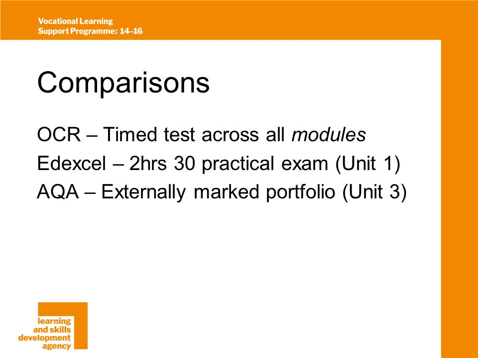 Comparisons OCR – Timed test across all modules Edexcel – 2hrs 30 practical exam (Unit 1) AQA – Externally marked portfolio (Unit 3)