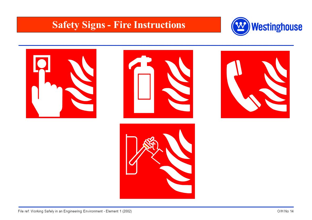 O/H No 14File ref: Working Safely in an Engineering Environment - Element 1 (2002) Safety Signs - Fire Instructions