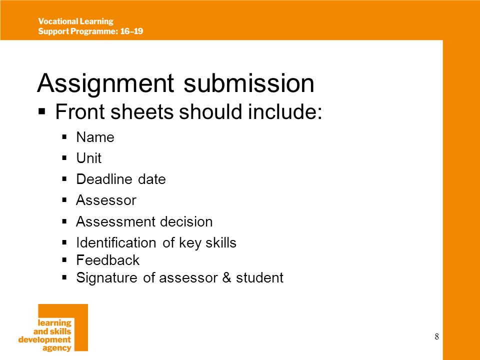 9 Setting the assessment The assignment tasks Clear detailed information Numbered Guidance on length of piece of work Advice on grading criteria