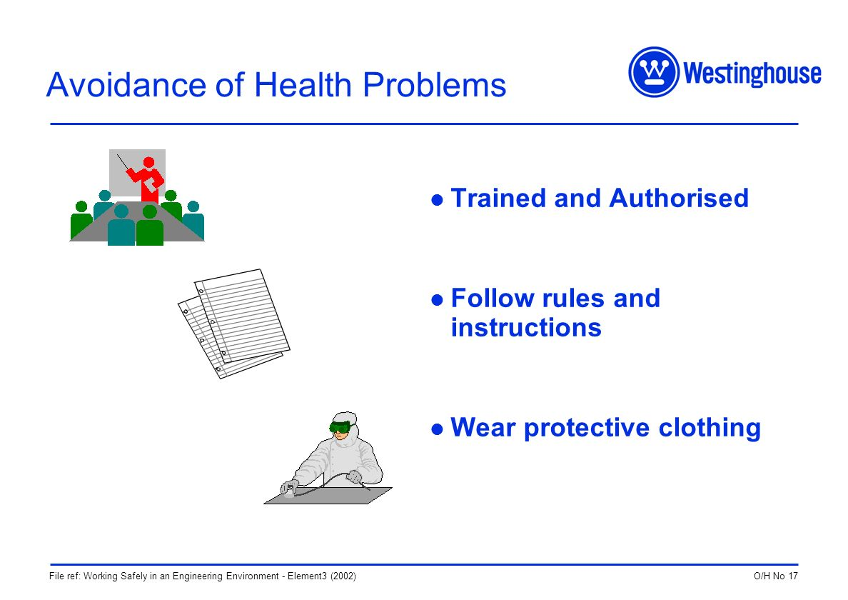 O/H No 17File ref: Working Safely in an Engineering Environment - Element3 (2002) Avoidance of Health Problems Trained and Authorised Follow rules and instructions Wear protective clothing