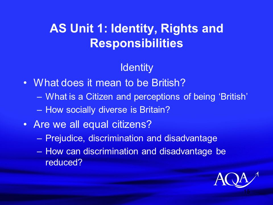 15 AS Unit 1: Identity, Rights and Responsibilities Identity What does it mean to be British? –What is a Citizen and perceptions of being British –How