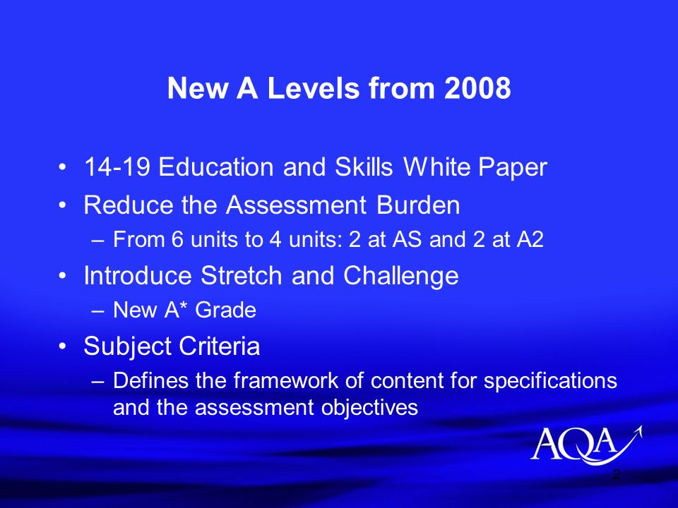 2 New A Levels from 2008 14-19 Education and Skills White Paper Reduce the Assessment Burden –From 6 units to 4 units: 2 at AS and 2 at A2 Introduce S