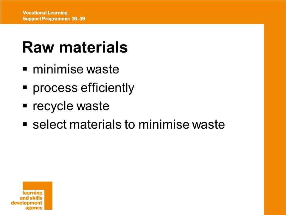 Raw materials minimise waste process efficiently recycle waste select materials to minimise waste